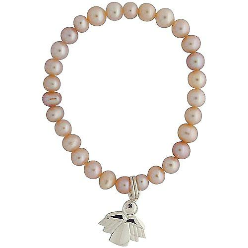 Jo For Girls Pink Freshwater Cultured Pearl (4-5mm) Angel Charm Bracelet