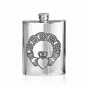 Irlandais Claddagh relief en étain 6 oz Hip Flask