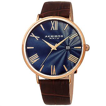 Akirbos XXIV AK1041RGBU Men's Classic Date Brown Leather Strap Watch