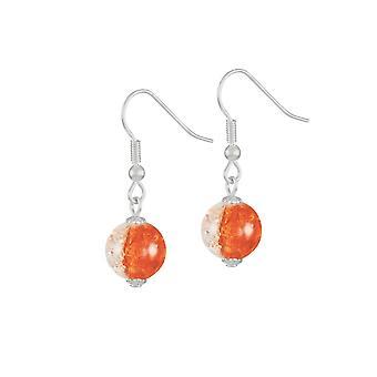 Ewige Sammlung Karneval Orange Böhmisches Glas Crackle Perlen Silberfarbe Drop Ohrstecker