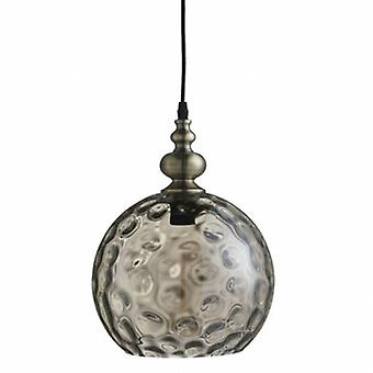 1 Light Globe kuppel loft vedhæng antik messing, rav, glas