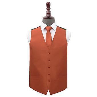 Rust Shantung Wedding Waistcoat & Tie Set