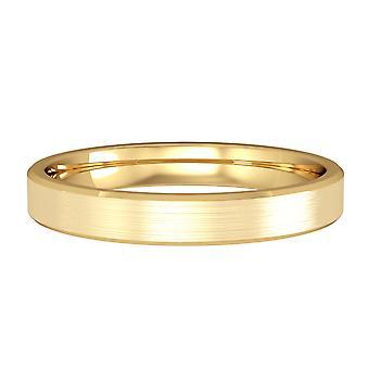 Jewelco London 9ct Yellow Gold - 3mm Flat-Court Satin Polished Wedding Ring