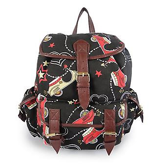 Miss K. Vintage Collection Stylish Canvas Backpack - Scoot Black