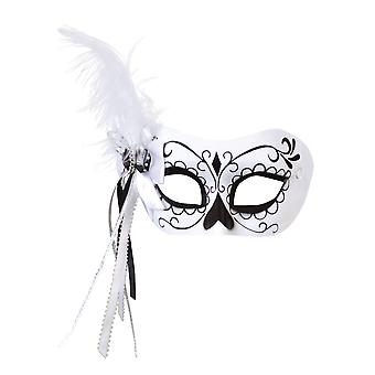 Bristol Novelty Unisex Adults Calavera Mask With Side Feather