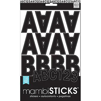 Large Alphabet And Number Stickers-Black Caps STM-004
