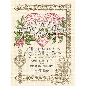 All Because Wedding Record Counted Cross Stitch Kit-7.25