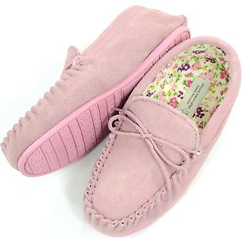 Snugrugs Ladies Genuine  Suede and Cotton Lined Moccasins with Rubber Sole - Pink