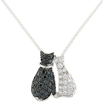 Cavendish French Sterling Silver & Cubic Zirconia Cats Pendant Chain