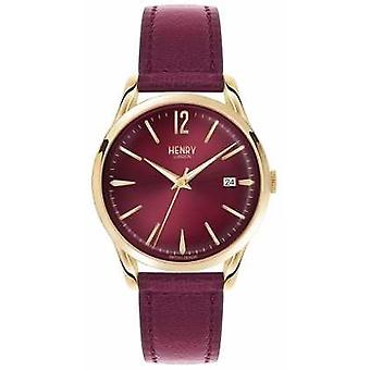 Henry London Unisex Holborn Bourgogne læder Bourgogne Dial HL39-S-0066 Watch