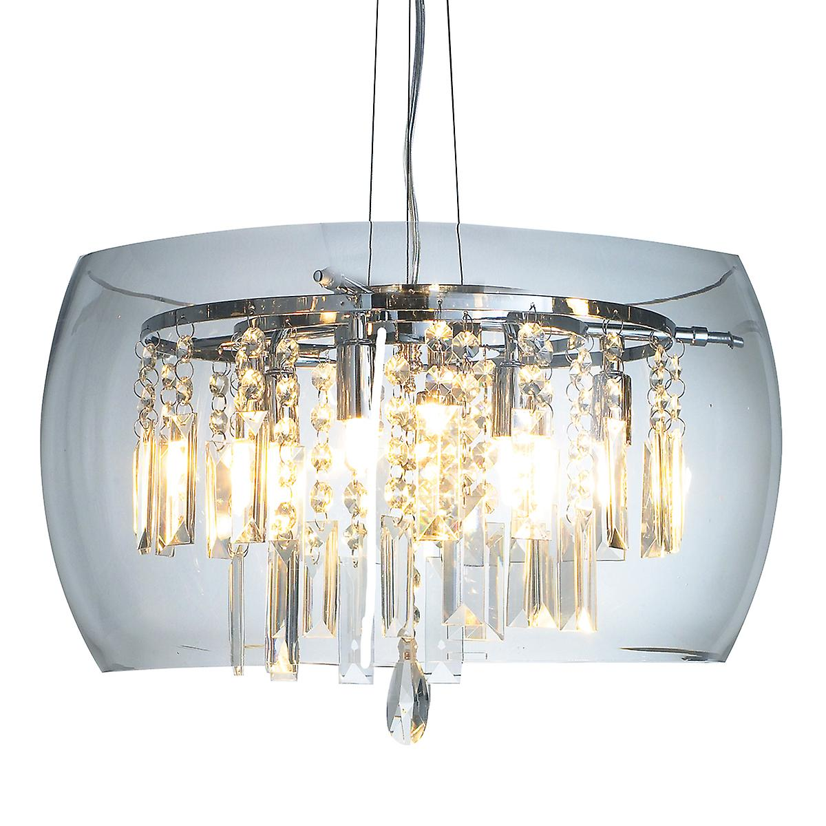 Dar LOC058 Loco Contemporary 5 Light Clear Glass Crystal Pendant