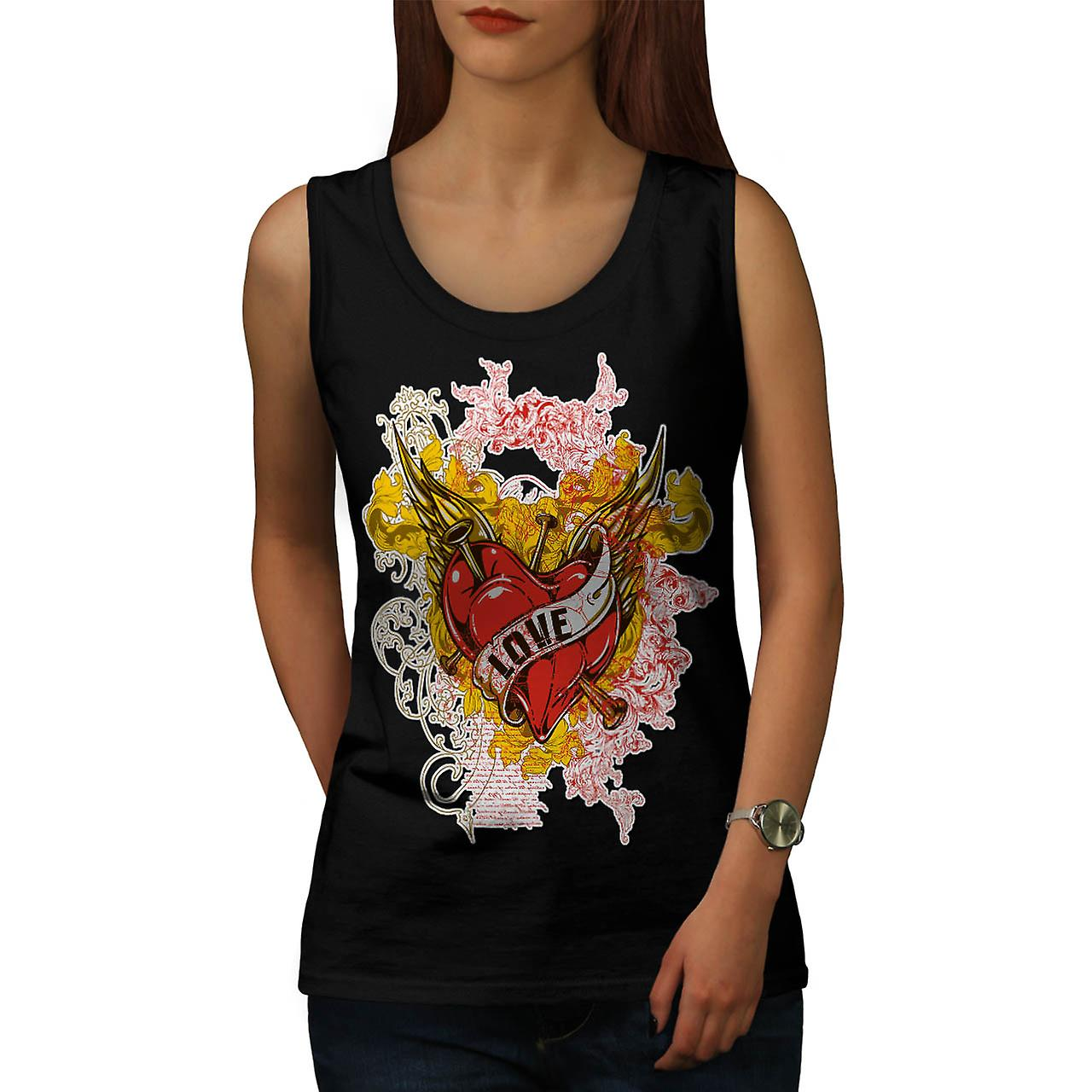 Love Heart Horror Romantic Lust Women Black Tank Top | Wellcoda
