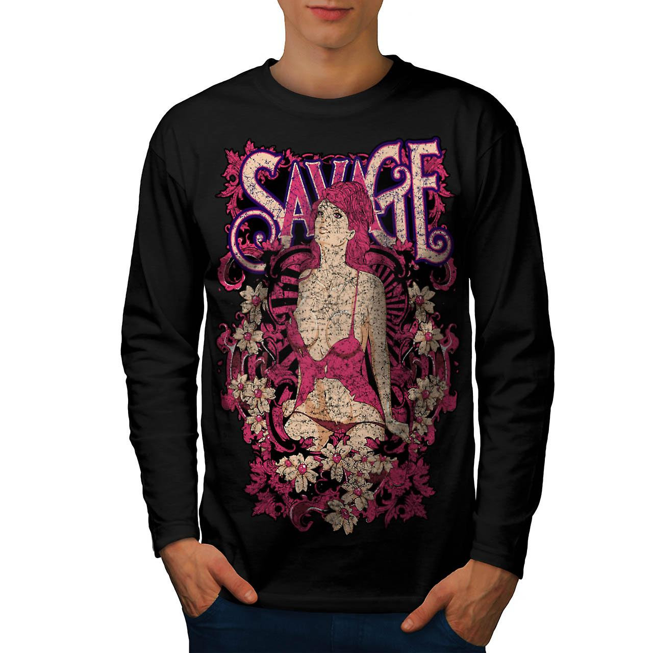 Savage Beauty Lust Stripper Girl Men Black Long Sleeve T-shirt | Wellcoda