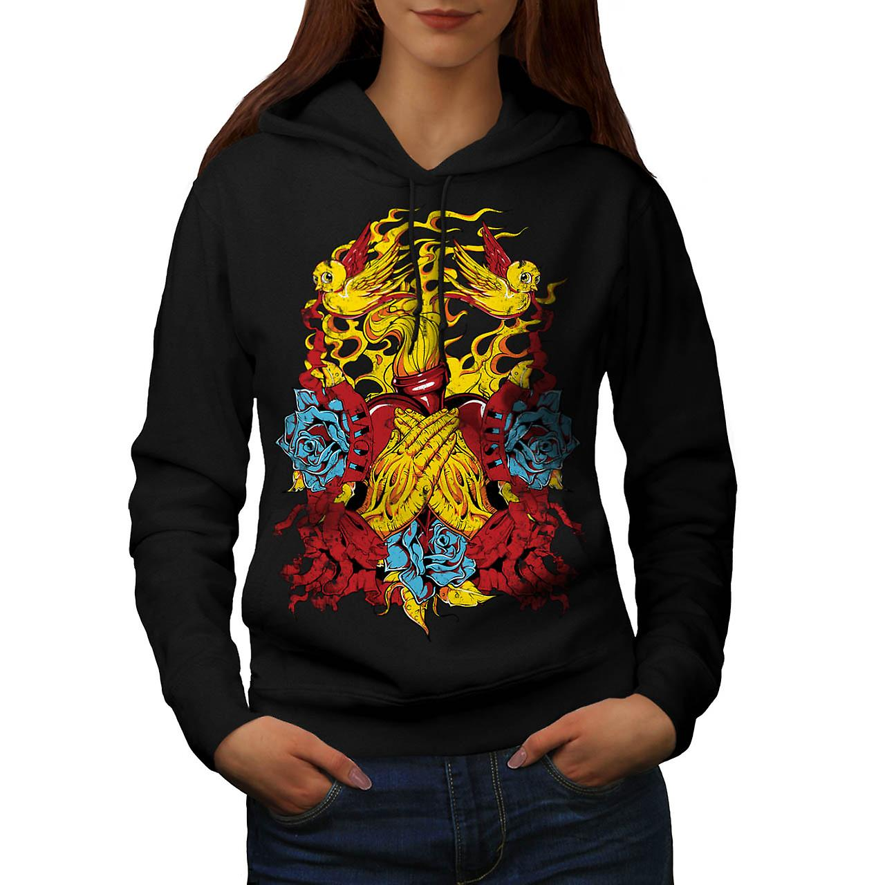 Heart Beats Prayer Love Fire USA Women Black Hoodie | Wellcoda