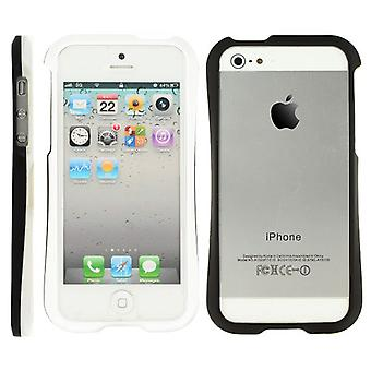 Bumper with two pieces, in hard plastic, for iPhone 5 (black + white)