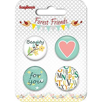ScrapBerry's Forest Friends Metal Embellishments-For You SCB1049