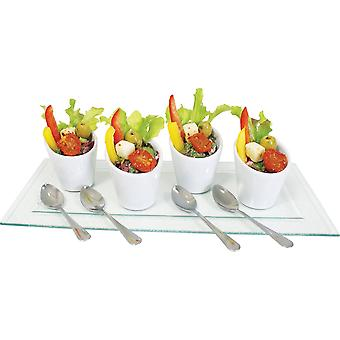 9Pc Mini White Ceramic Cornets with Spoons and Glass Serving Tray