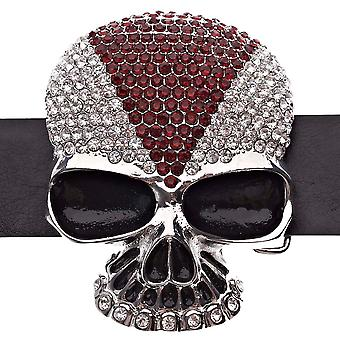 Iced out hiphop schedel ICE belt - zilver / rood