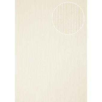 Wallpaper Atlas COL-558-1 non-woven wallpaper structured shimmering with structure white creamy white fine stripe 5.33 m2