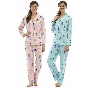 2er-Pack Damen Tom Franken Pinguins drucken Winter lange Fleece Schlafanzug Nachtwäsche