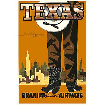 Texas Braniff Airways Poster Print Giclee