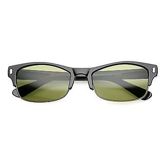 Classic Horn Rimmed Rectangle Lens Half Frame Sunglasses 53mm
