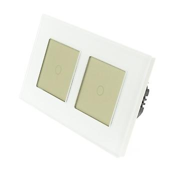I LumoS White Glass Double Frame 2 Gang 1 Way Touch Dimmer LED Light Switch Gold Insert