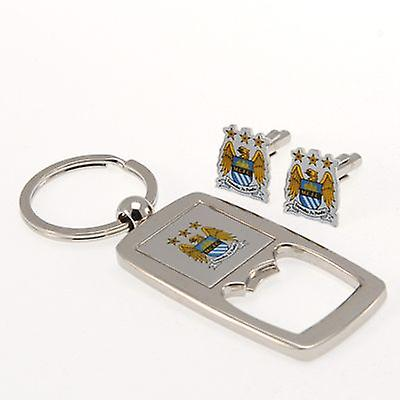 Manchester City Cufflinks & Keyring Bottle Opener Set