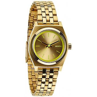 Nixon The Small Time Teller Watch - Gold/Neon Yellow