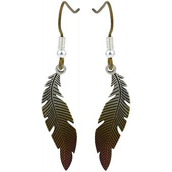 Ti2 Titanium Woodland Small Curved Feather Drop Earrings - Brown