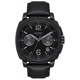 Nixon The Charger Chrono Leather Watch - Black