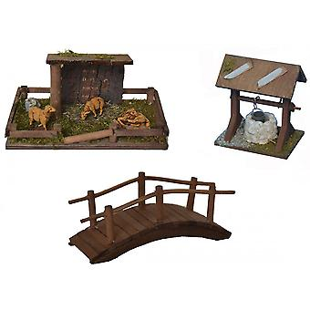 Stall sheep shelter bridge fountain for crib Nativity crib accessories