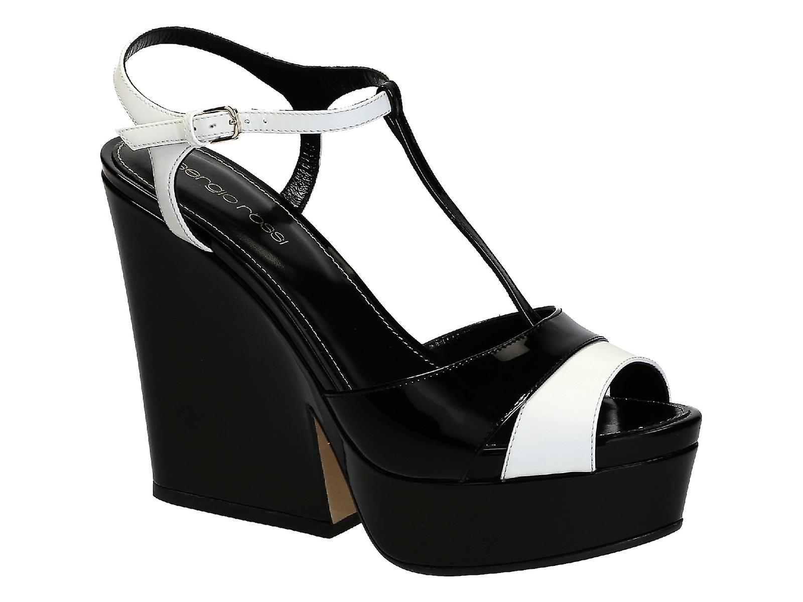 platform Rossi Patent with sandals Sergio black Leather xZBqaHUw