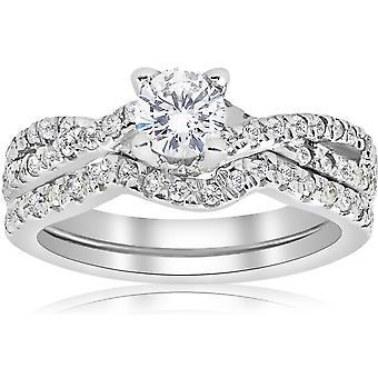 1ct infini diamant Engagement bague de mariage Set 14K or blanc
