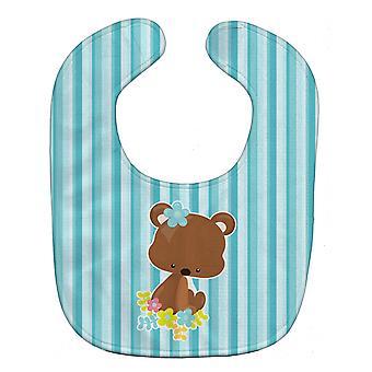 Carolines Treasures  BB7096BIB Bear with Flowers Baby Bib