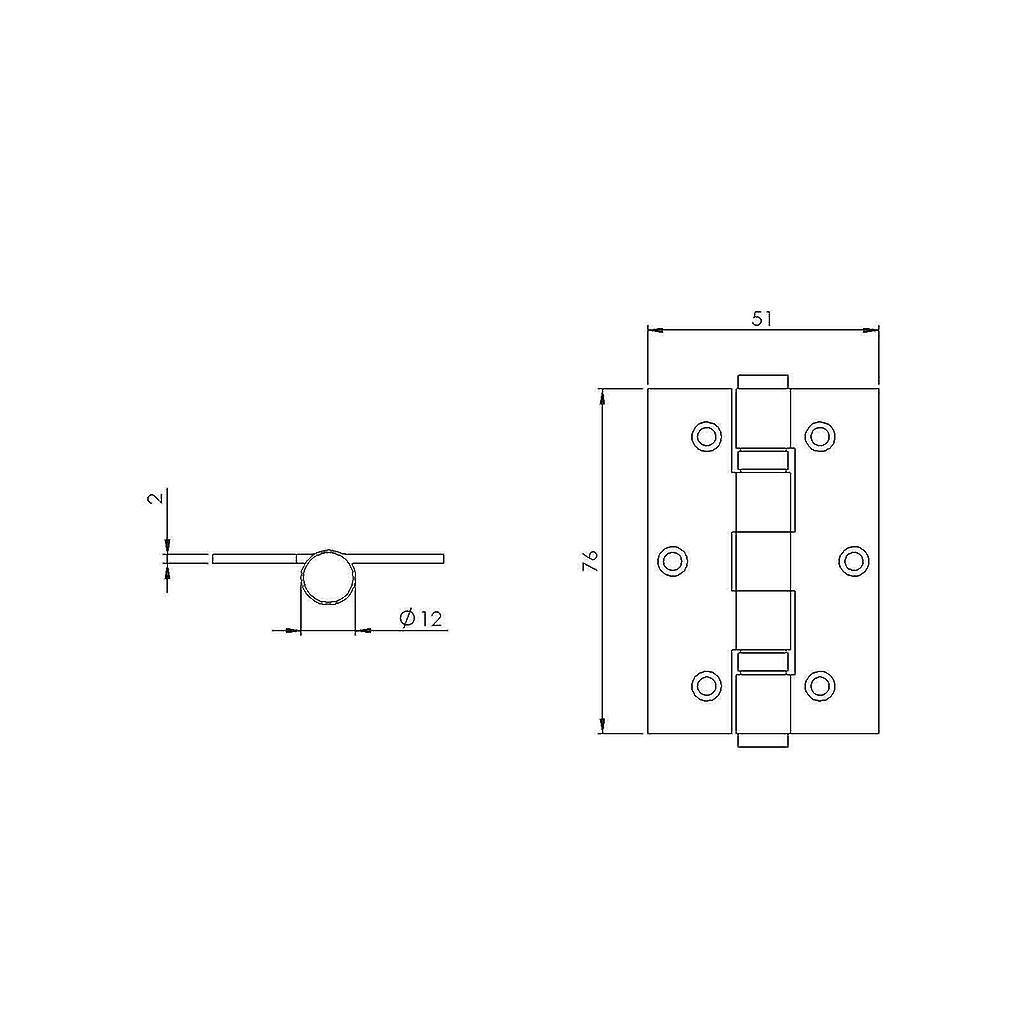 Premium Quality M4TEC ZD4 Satin Nickel Coloured Steel Interior Butt Door Hinge - Sturdy, Durable & Easy To Install – Button Tipped With 2 Ball Race Bearings – Ideal For General Joinery & Furniture. 2pcs