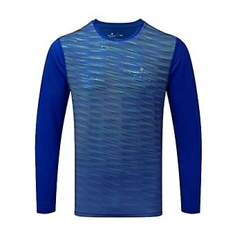 Stride Mens Long Sleeved Running T-shirt Blue