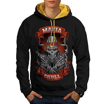 Mafia Skull Cool Gangster Men Black (Gold Hood) Contrast Hoodie | Wellcoda