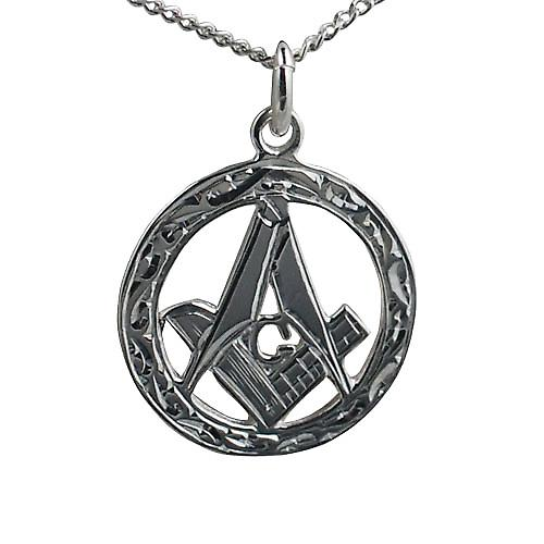 Silver 21mm hand engraved Masonic emblem in a circle with G Pendant on a curb Chain 18 inches