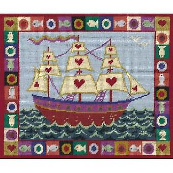 Ship of Hearts Needlepoint Canvas