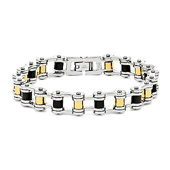 Stainless Steel Men'S Polished Motorcycle Style Bracelet - 10mm Fold Over