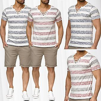 Men's T shirt short sleeve vintage Maritim striped cord collar
