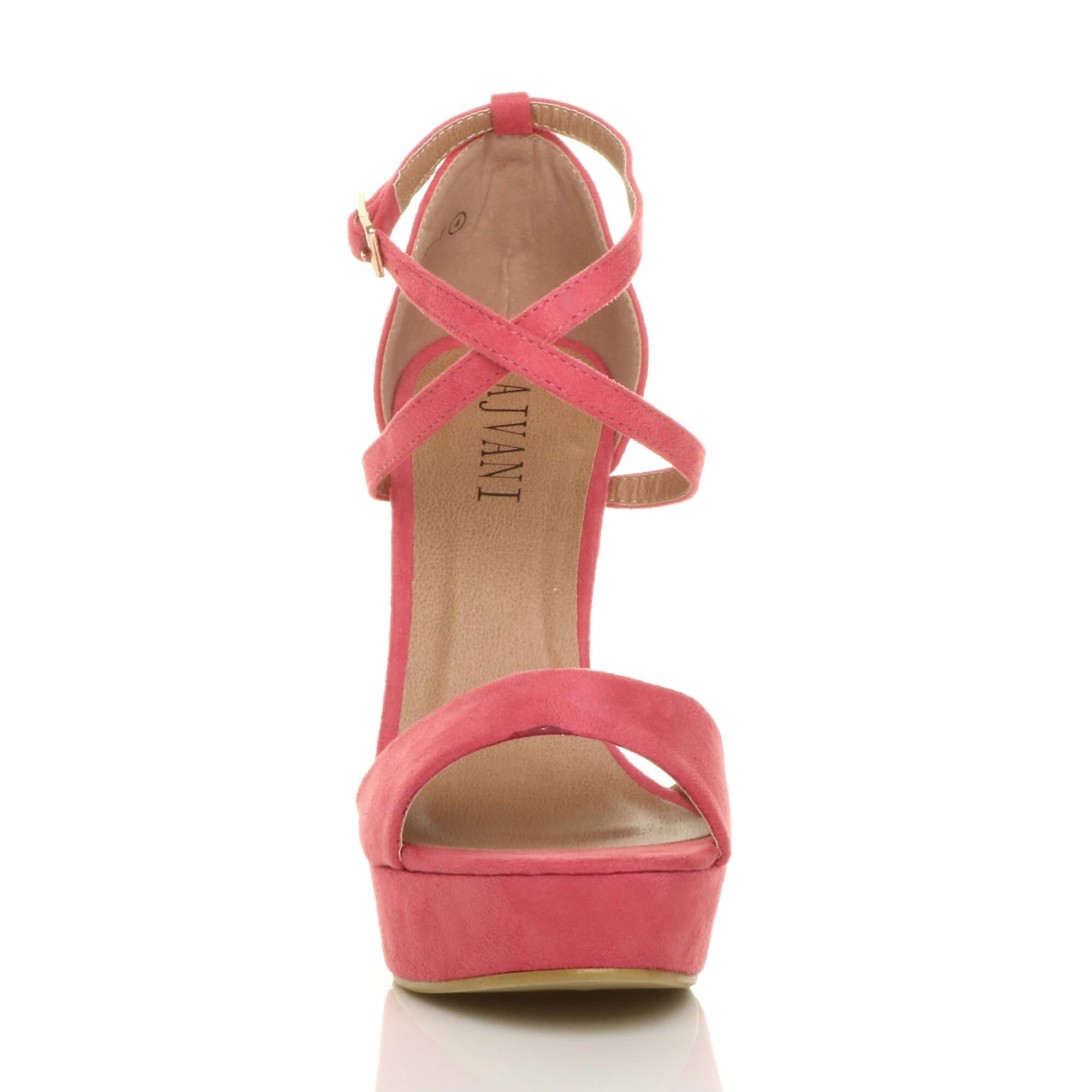 Ajvani Womens Plattform high-Heel Peep-Toe überqueren Sie die Riemchen-Sandalen Schuhe