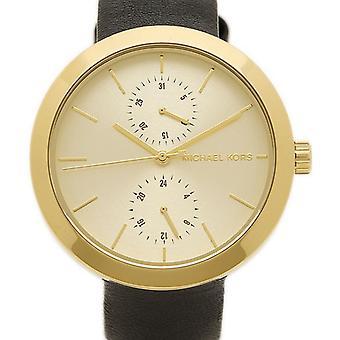 Michael Kors dun Garner dames pols horloge goud Dial zwart riem MK2574