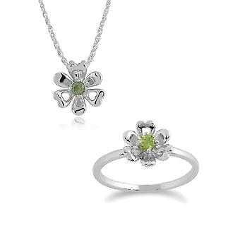 Gemondo 925 Sterling Silver Peridot Floral 45cm Necklace & Ring Set