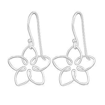 Wire Flower - 925 Sterling Silver Plain Earrings - W20220x