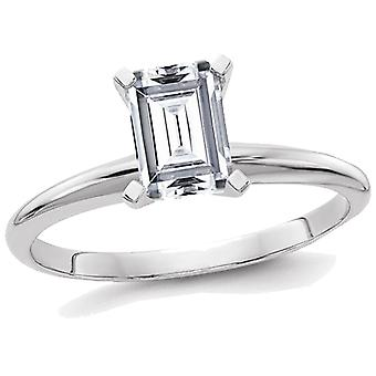 1.00 Carat (1.00 Ct. Look) Emerald Cut Synthetic Moissanite Solitaire Engagement Ring 14K White Gold