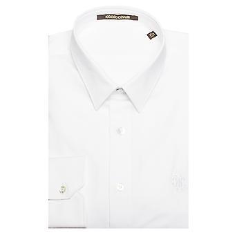 Roberto Cavalli mænds punkt krave Polka Dot bomuld kjole skjorte hvid