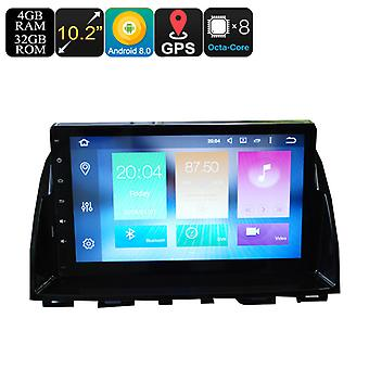2 Din Car Media Player For Mazda 6 - 10.2 Inch Screen, 4+32GB, Octa-Core, 3G, 4G, Android 8.0, Bluetooth, GPS, Wi-FI