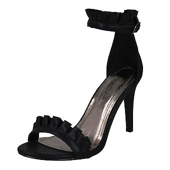Las señoras Anne Michelle colmena tobillo correa sandalias F10833 - tela negro - Reino Unido tamaño 6 - UE tamaño 39 - tamaño de los E.E.U.U. 8